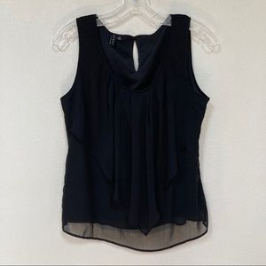 Sioni   Layered Sheer Black Blouse Medium